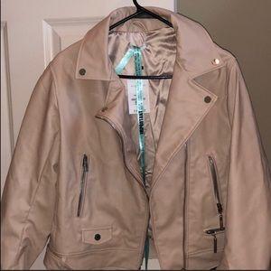 Nude leather jacket.